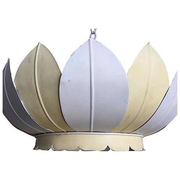 Vintage Striped Lotus Pendant Light - Image 2 of 7