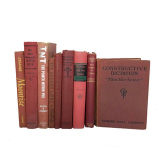 1920's - 1960's Vintage Red Book Shelfie Collection - Set of 9 For Sale