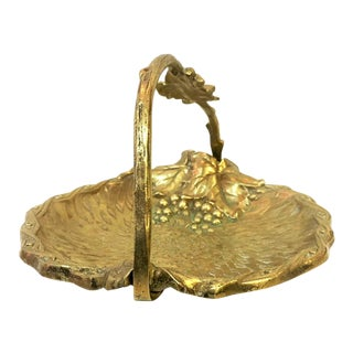Early 20th Century Antique Victorian Brass Basket For Sale