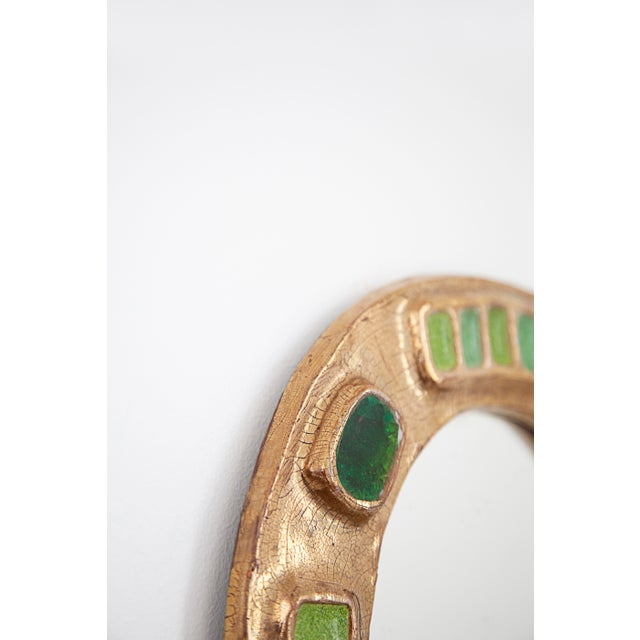 1970's Francois Lembo Mirror Oval Gold With Multi Green Inlay For Sale - Image 4 of 6