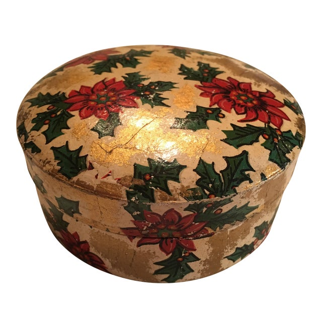Vintage Christmas Poinsettia Paper Mache Coasters in Box For Sale