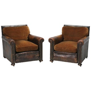 Antique Leather Club Chairs Internal Restored For Sale
