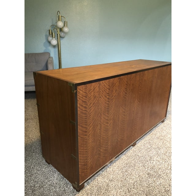 Baker Furniture Company 20th Century Campaign Baker Furniture Mahogany Dresser For Sale - Image 4 of 9