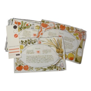 Vera Neumann for Gumps Hand Painted Placemats and Napkins - Set of 8 For Sale