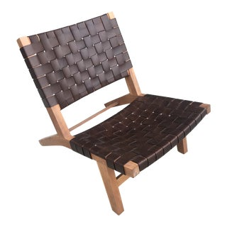 Vintage Leather Woven Lounge Chair For Sale
