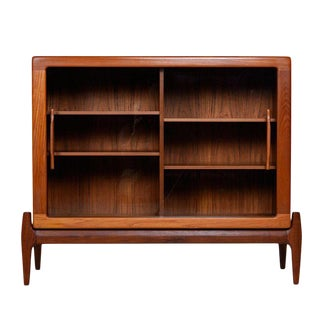 Danish Modern Sliding Glass Door Hutch Cabinet Bookcase With Carved Teak Pulls For Sale