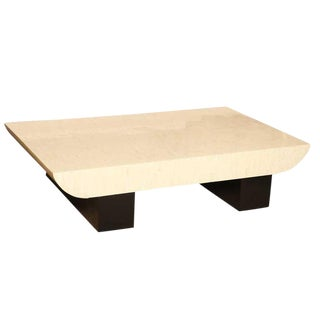 Karl Springer Tessellated Bone and Black Lacquered Wood Cocktail Table For Sale