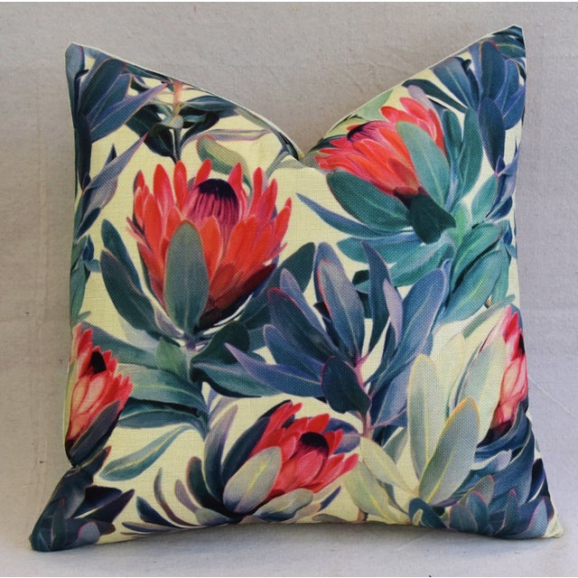 "18"" Colorful Tropical Protea Floral Feather/Down Pillows - a Pair - Image 4 of 11"