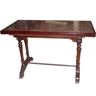 1930's French Bistro Table With a Marble Top For Sale