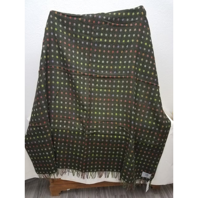 English Merino Wool Throw Spot Dark Green - Made in England For Sale - Image 3 of 10