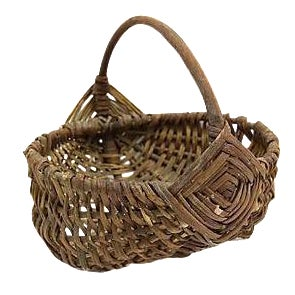 Antique French Wicker Market Basket