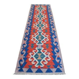 Vintage Turkish Hand Woven Kilim Rug. Flat Weave Hallway Decor For Sale