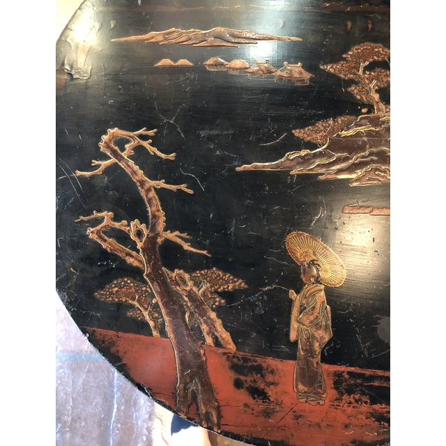 Black Lacquer and Painted Chinoiserie Tilt Top Table For Sale - Image 10 of 13