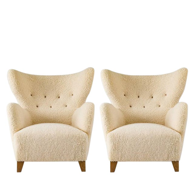 Scandinavian Sheepskin Lounge Chair For Sale