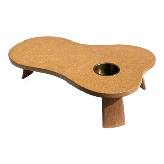 Mid-Century Modern Cork and Mahogany Coffee Table For Sale