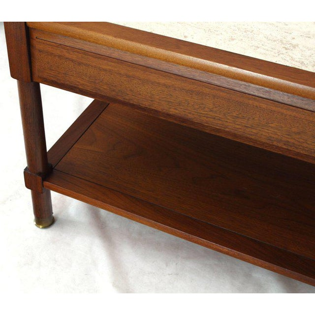 Mid-Century Modern Pair of Travertine Tops One Drawer Oiled Walnut End Side Tables For Sale - Image 3 of 13