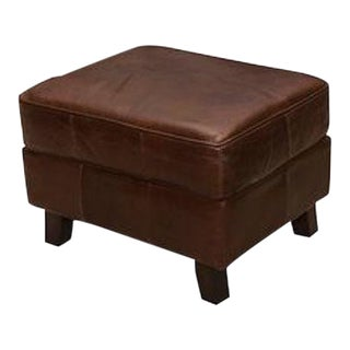 Plush Leather Ottoman in Vintage Cigar Brown Finish