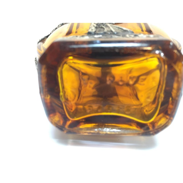 Glass Glass Perfume Bottle With Embossed Metal Overlay For Sale - Image 7 of 9