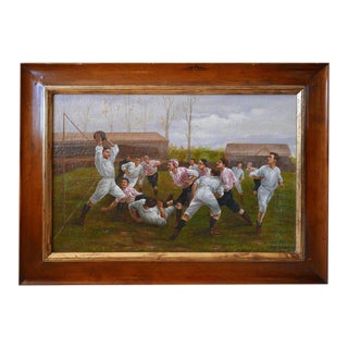 Painting, Framed Oil on Canvas, of Rugby Match, Late 1800s, Edwardian Era For Sale