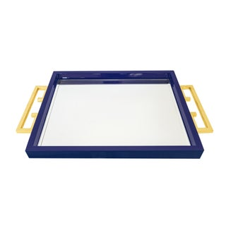 Blue Lacquer/Mirrored Tray With Greek Key Handles