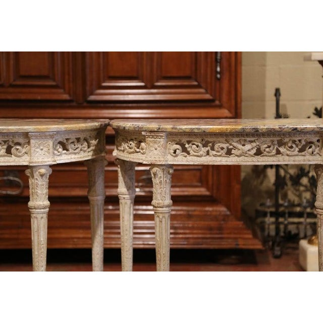 19th Century Louis XVI Carved Painted Demi-lune Consoles With Marble Top - a Pair For Sale In Dallas - Image 6 of 10