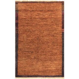 Gabbeh Peshawar Ian Rust/Purple Hand-Knotted Wool Rug -3'0 X 4'10 For Sale
