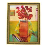 Image of Original Juan Pepe Guzman Floral W/Red Flowers Oil Painting For Sale