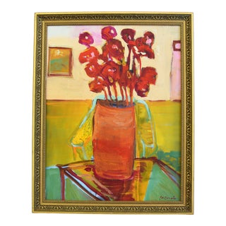 Original Juan Pepe Guzman Floral W/Red Flowers Oil Painting For Sale