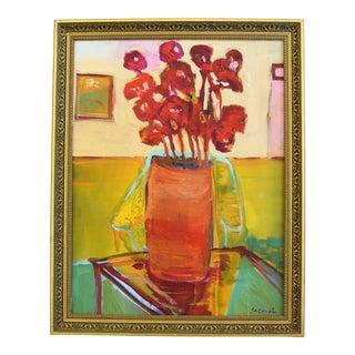 Original Juan Pepe Guzman Floral W/Red Flowers Oil Painting For Sale
