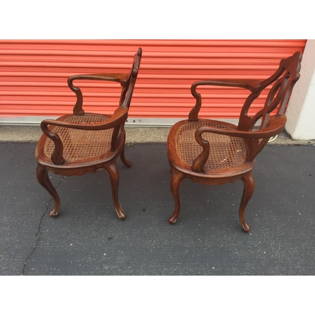 Brown Antique Italian Renaissance Revival Arm Chairs a Pair For Sale - Image 8 of 13