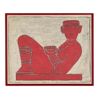Chacmool Woodblock in Red by P Argaez