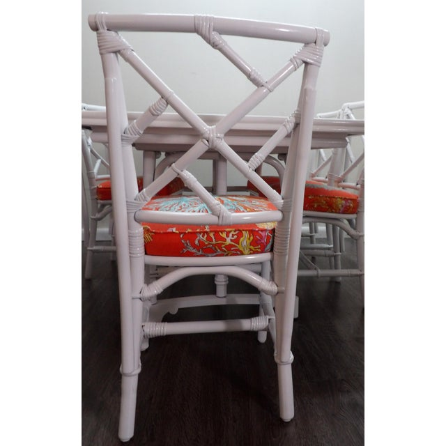 Wood Chinoiserie, Wrapped Bamboo Dining Set - 5 Pieces For Sale - Image 7 of 13
