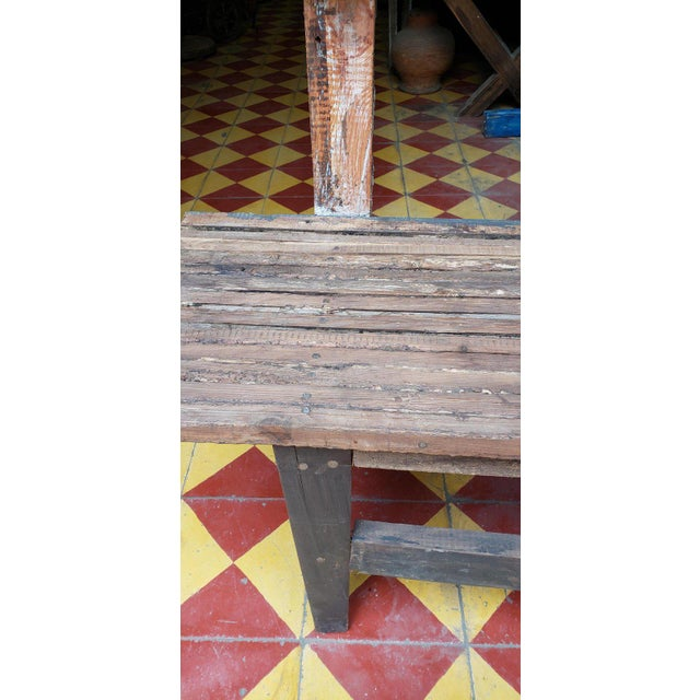 1980s 1980s Vintage Moroccan Handmade Old Wood Park Bench For Sale - Image 5 of 8