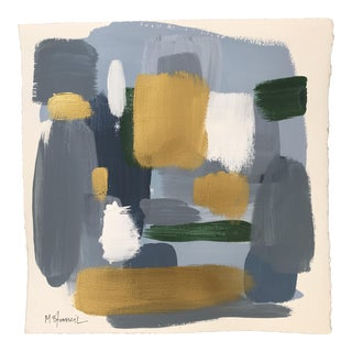 Blue & Gold Abstract Painting on Paper