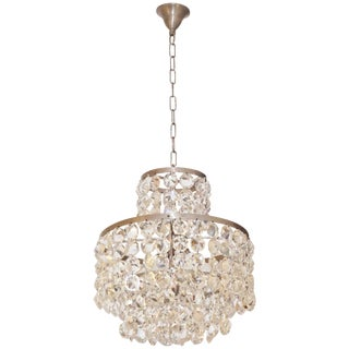1950s Italian Vintage Satin Chrome and Clear Crystal Murano Glass Chandelier For Sale
