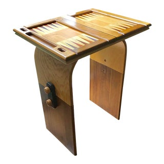 Scandinavian Wood Inlay Backgammon Table, Collapsible, Brio Style For Sale