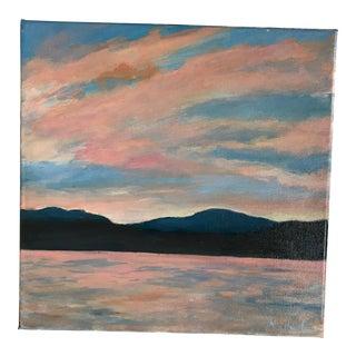 "Impressionist Acrylic Painting ""Mountain Lake"" by Mary Houston"
