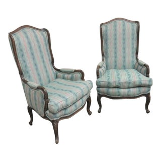 Louis XV Style Walnut High Back Wing Chairs- a Pair For Sale