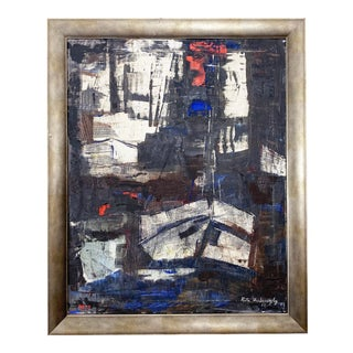 Original Abstract Oil Painting on Canvas by Rita Hvilivitzky - 1962 For Sale