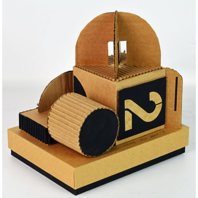 Cubist Bauhaus Style Architectural Cardboard Table Sculpture by Virgil Greca For Sale - Image 4 of 13