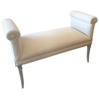 1940s Vintage French Upholstered Window Bench For Sale