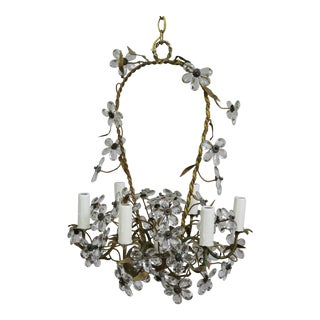 Crystal Flower Basket Six-Light Chandelier For Sale