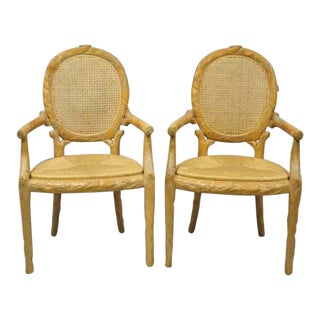 Faux Bois Vintage Cane Back Rush Seat Carved Wood Twig Arm Chairs- a Pair For Sale