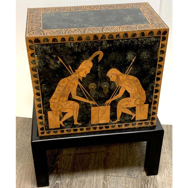 Grand Tour Style Polychromed Greek Motif Cabinet on Stand For Sale - Image 12 of 13