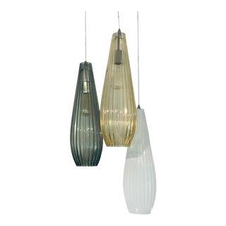 Modern Glass Pendant Lights - Set of 3 For Sale