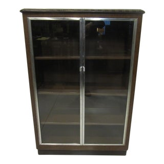 Brown and Chrome Art Deco Streamline Industrial Bookcase For Sale