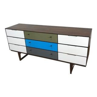 Stanley Mid-Century Walnut Painted Triple Dresser