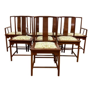 Late 20th Century Rosewood Upholstered Dining Chairs - Set of Eight For Sale