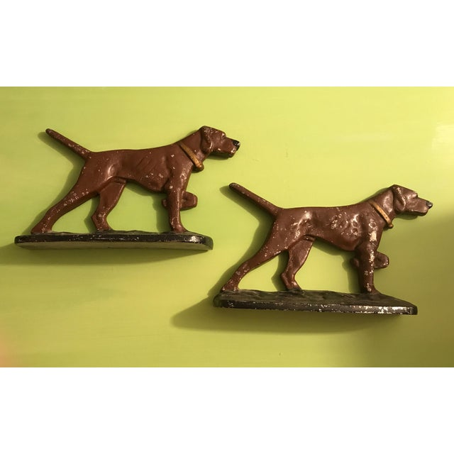 Painted Cast Metal Pointer Dog Bookends - Image 3 of 6