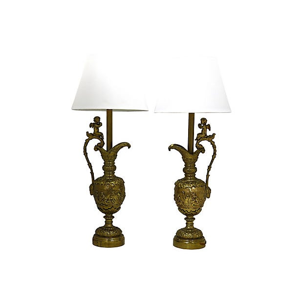 French Brass Cherub Lamps - a Pair For Sale - Image 4 of 4